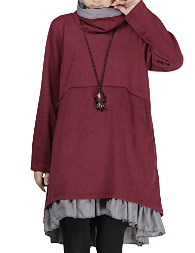 Jumper Pleated Low (Mordenmiss Women's New Turtle Neckline Two Layers Hi-low Hem Dress XL Burgundy)