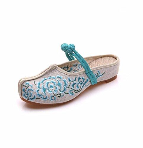 Folklorique Daisy Pantoufles De Style Sandales KHSKX Déformée Brodé Lin blue Dichotomanthes Semelle Pankou Fond Molle En pwC8q