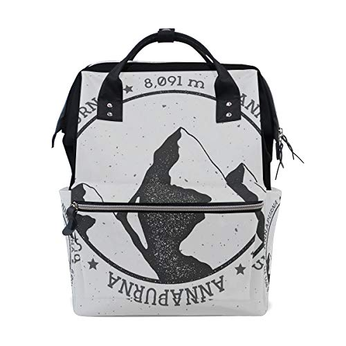 HOLIWEAR Casual Backpack Cute Himalayan Mountains Annapurna South East Asia Greyscale Landscape Design School Travel Daypack for Men Women Wide Doctor Style Top Opening