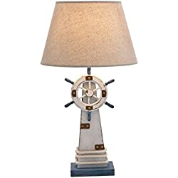 "Deco 79 28754 Wood Lighthouse Table lamp 7"" W, 25"" H"
