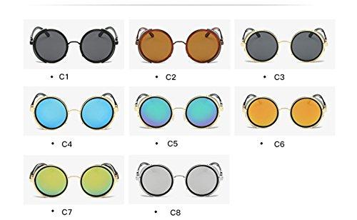 Gafas Estilo Marco Lente Viento con del Personalidad de del del la de Sol RFVBNM Gafas de Las Sol sol Tendencia del la mercurio blanca plata de Masculina Redondas del Señora de de Metal Caja de Gris Gafas Oro xwa7FU