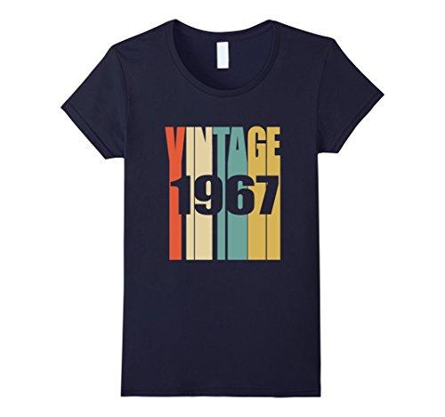 Womens Retro Vintage 1967 T-Shirt 51 yrs old Bday 51st Birthday Tee Large Navy