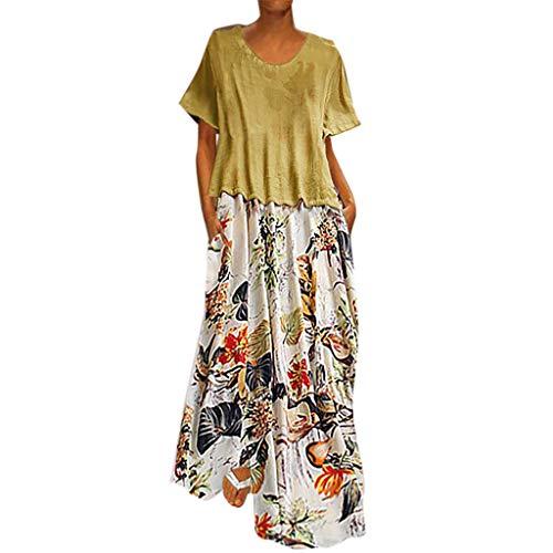 XGUMAOI_Dress Women's Floral Printed Short Sleeve Empire Waist Maxi Dresses(Cotton and Linen) Yellow