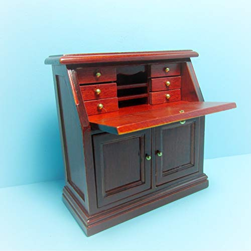 Dollhouse Writing Desk/Secretary in Mahogany KL2327 - Miniature Scene Supplies Your Fairy Garden - Doll House - Outdoor House ()