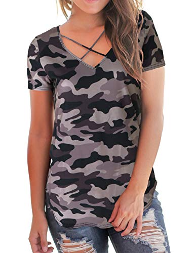 - Women T Shirts Short Sleeve Camo Summer Tops Floral Criss Cross Tops Plus Size 2XL