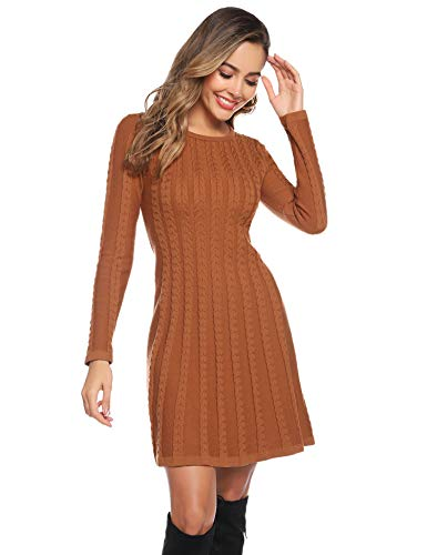 Abollria Womens Turtle Neck Long Sleeve Bodycon Cable Twist Knitted Jumper Knitwear Sweater Dress