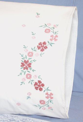 (Fairway Needlecraft 83289 83216 Cross Stitch Perle Edge Pillowcases, Small Floral Design, Standard, White )