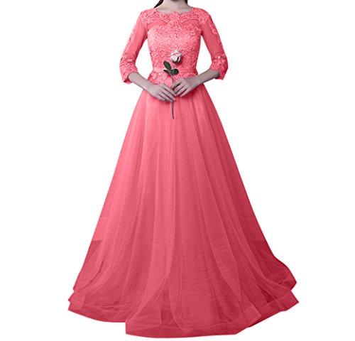 A Charmant Abschlussballkleider Promkleider Altrosa Lang Linie Einfach Ballkleider Abendkleider Wassermelon Damen 1R1W8U
