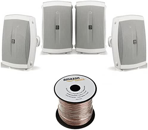 Yamaha NS-AW150WH 2-Way Outdoor Speakers - White (4 Speakers + AmazonBasics Speaker Wire)