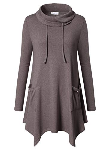 Bulotus Women's Long Sleeve Cowl Neck Winter Casual Tunic Top to Wear with Pants,Brown,Medium ()
