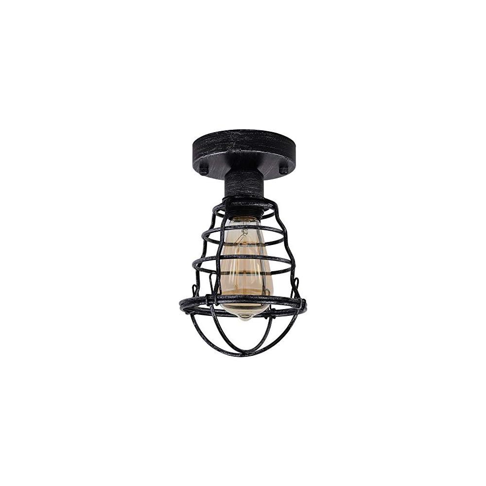 Vintage Retro Rustic Semi Flush Mount Ceiling Light, Industrial Farmhouse Lighting,Metal Cage Light Fixture Rust Finish…
