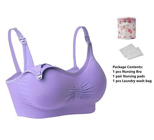 iLoveSIA - Sujetador de lactancia sin costuras para Mujer Lavanda
