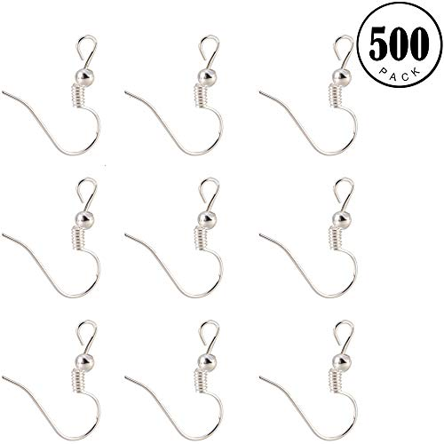Gaiatop Ear Wires, 500PCS Silver Stainless Steel Ball Coil Earring Wire Fish Hooks Earwires for DIY Jewelry Making