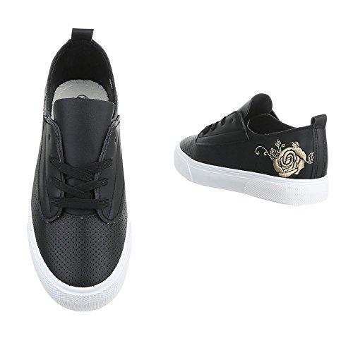 Damen Schuhe Sneakers Sportschuhe Turnschuhe Freizeitschuhe Schwarz 37 FjWfFsxJ