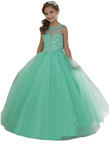 GreenBloom Crystal Girls'Princess Pageant Ball Gowns Dress 10 US Mint