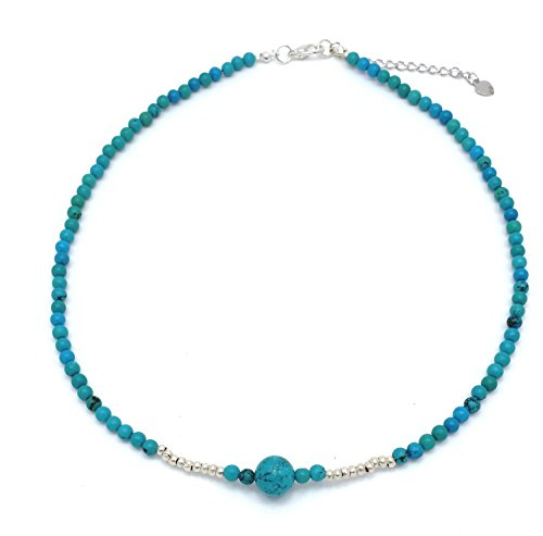 """DEW Drops Reconstructed Turquoise and Sterling Silver Beads Pendant Choker Necklace 16"""" + 2.5"""" Extender"""