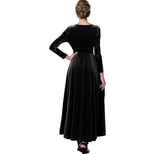 Vestiti Vestito Abito Casual Nero In Maniche Plissettato Lunghi Cocktail Donna Camicia Eleganti Lunghe Manica Chiffon Panpany Maglia Banchetto Da Lunga retrò xoWCerBQd