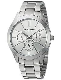 Akribos XXIV AK952SS Women's Quartz Stainless Steel Automatic Watch, Silver-Toned