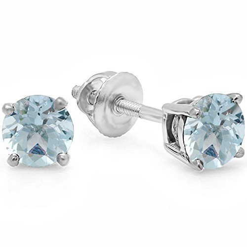 Sterling Silver 5.5mm Each Round Cut Aquamarine Ladies Solitaire Stud Earrings by DazzlingRock Collection