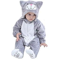 Tonwhar Disfraz de Halloween para bebé de Animal de Gato Overol para Halloween (110 Edades 24-20 Meses, Gato Gris)