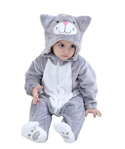 Tonwhar Baby Animal Cat Onesie Romper Halloween Costume (80 Ages 6-12 Months, Gray Cat)