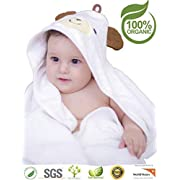 Premium Hooded Baby Towel, 100% Organic Bamboo, Free Baby Bib or Gloves, Baby Shower Gift, 35x35 , Newborns Infants Toddlers, Kids, for Boys and Girls at Bath Pool/Beach, Better Than Cotton(White)