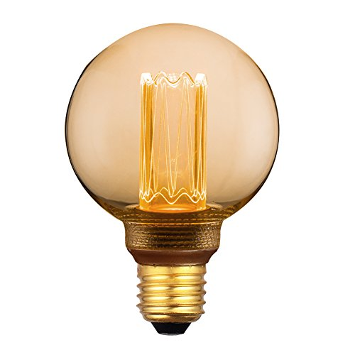 Vintage Decorative Round LED Light Bulb, Globe Amber Glass Bulb, Dimmable 3.5W Harwez RN G80/G25, 2000K Warm Lighting Mood Light(Not Daylight White), E26 Medium Base