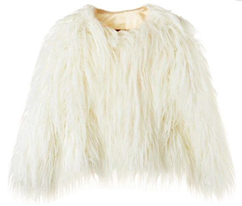 Erencook Women's Shaggy Faux Fur Coat Jacket (L=US 6, White)]()