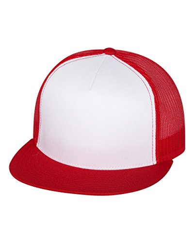 (Yupoong 6006W Unisex Adult Classic Two Tone Trucker Cap, White/Red, One Size)