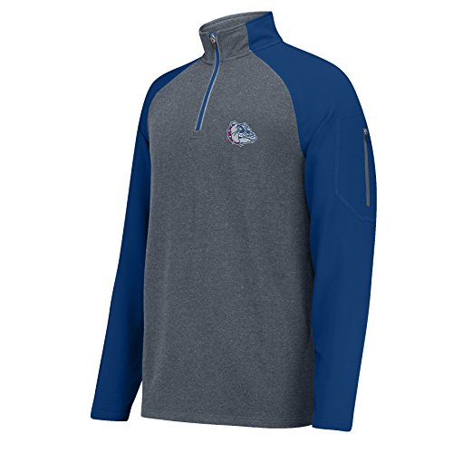 - J America NCAA Gonzaga Bulldogs Men's Alpha 1/4 Zip Sweater, Small, Charcoal HTR/Navy