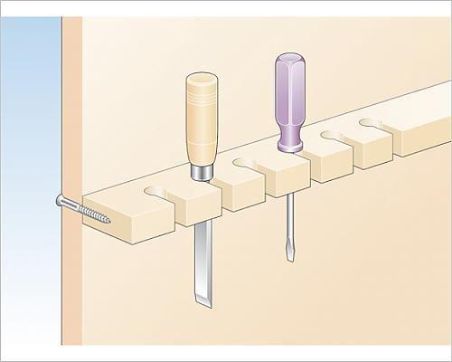 Full Batten (10x8 Print of Illustration of carpentry chisel, and screwdriver in batten keyhole slots (13552313))