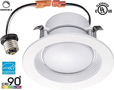 Yi Lighting 13W (75W Equivalent), 4-inch Dimmable Retrofit LED Recessed Lighting Downlight Fixture Trim Ceiling Lights (Wet Location), ENERGY STAR, UL-Classified, 730LM, CRI>90