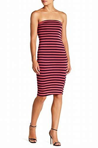 (Velvet Torch Women's Medium Strapless Stripe Tube Dress Pink M)