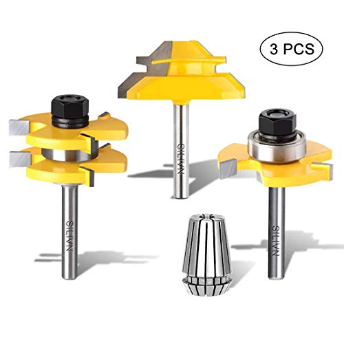 - SILIVN Set of 3 Pieces 1/4 Inch Shank Matched Tongue and Groove Router Bit + 45 Degree Lock Miter Router Bit 3/4 Inch Stock Joint Router Bit(Come with a ∅1/4 ER20 Spring Collect)