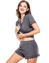 Ekouaer Womens Nightwear Modal Top and Pants Pajama Sets