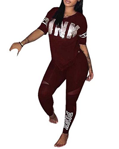 Women's Casual Sports Tracksuit Tops and Pants Jogger 2 Piece Set Wine Red 3XL (2 Piece Cute Set)