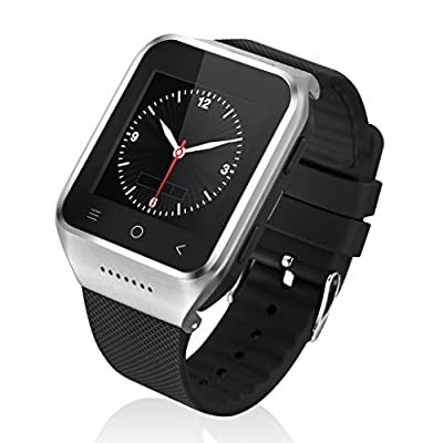ZGPAX Silicone 1.54 Inch 3G Android 4.4 MTK6572 Dual Core Phone Watch 2.0MP Camera WCDMA GSM Smart Watch with Email GPS WIFI WAP (Silver)