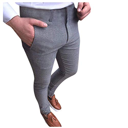 Pant Suit Trousers for Men,Skinny Slim Fit Stretch Casual Comfort Business Plain-Front Pants (S, Gray)