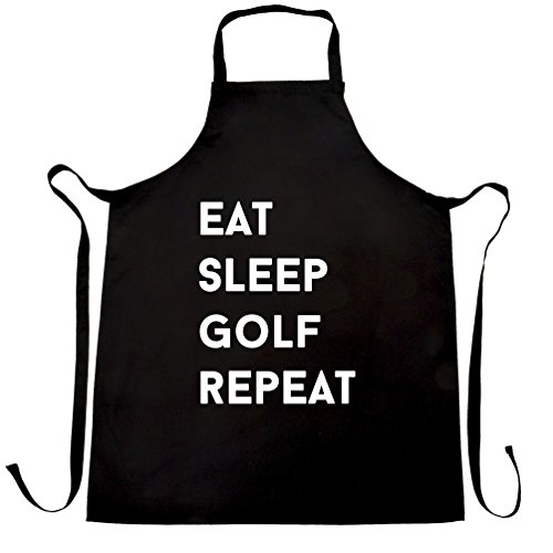 Funny Sports Chefs Apron Eat, Sleep, Golf, Repeat Slogan Black One (Golf Bbq Sports Apron)