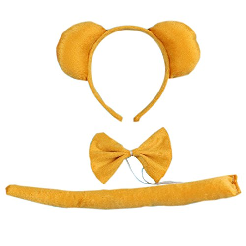 Marlegard 3PCs Funny Dalmatian Milk Leopard Costume Headband Ear with Tail Tie (Yellow Bear)