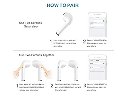 Wireless Earbuds Bluetooth Earphone, Sweatproof Sport Earbuds with Microphone Function Headphones, Compatible for iphon 7/8/X iOS System Applicable Support All Android Smartphones [White]