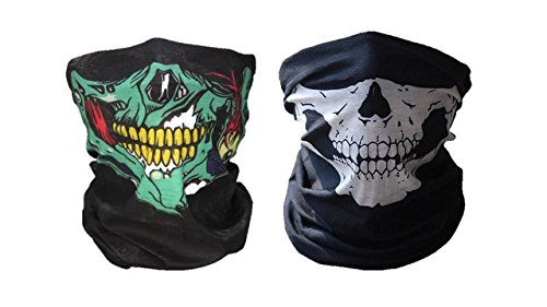 Price comparison product image Skull Mask 2 pack, seamless skull face tube masks (Green/White)