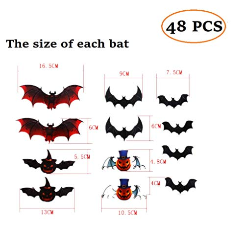 48 PCS 4 Pack Removable 3D Bats Wall Stickers Decals DIY Bat Wall Art Decor Home Wall Decoration Sticker Mural for Halloween Party Kids Girls Children Bedroom Living Room Background Nursery (Black) -