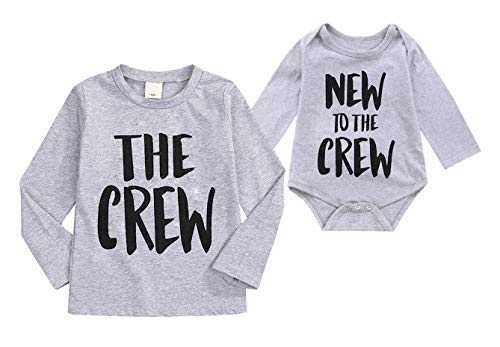 Sibling Shirts Set Big Brother/Sister T-Shirt & Littler Brother/Sister Onesie Bodysuit Matching Outfit Set (0-3 Months, Gray Long Sleeve #)