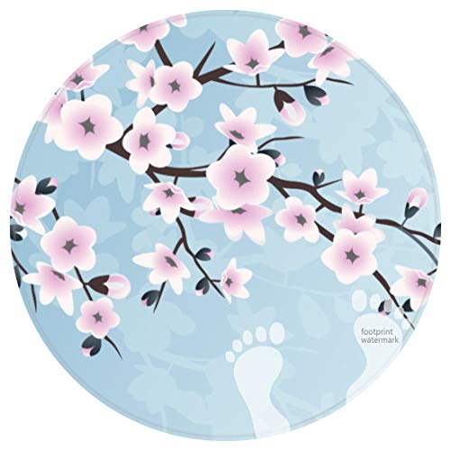DECER Bedroom Floor Shower Round Rugs Towel bathroon Non Slip Bath mat-Floral Cherry Blossoms Dusky Pink Pale ()