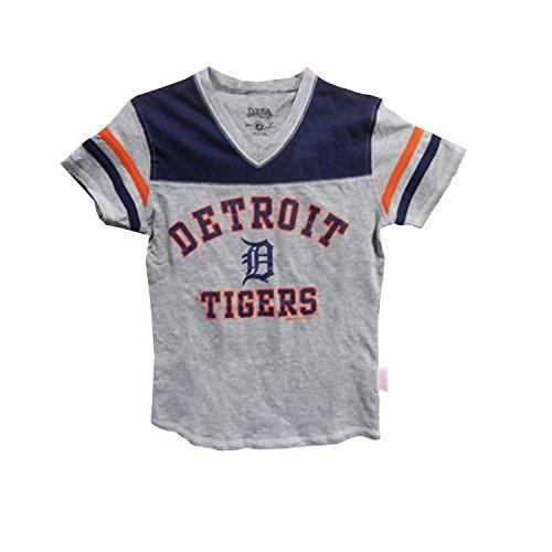 MLB Detroit Tigers Girl's V-Neck Jersey Top, Grey, Large