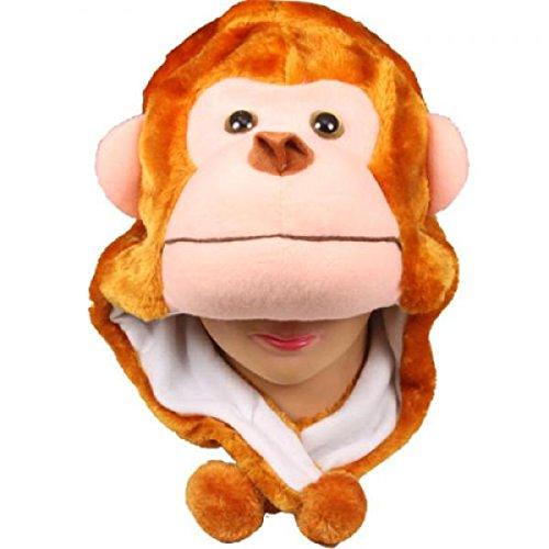 Monkey_New_Warm Cap Earmuff Gift Cartoon Animal Hat Fluffy Plush Cap - Unisex (US Seller)