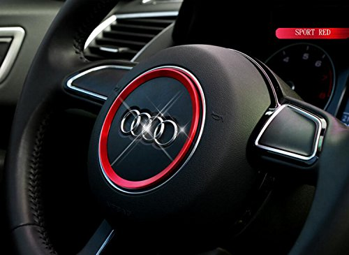 YIKA Aluminum Steering Wheel Center Decoration Cover Trim For Audi A3 A4L Q3 Q5 A5 A6L (Red)