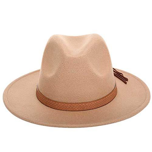 Crocodile Tassel - Wool Solid Fedoras Hats Wide Large Flat Brim Crocodile Skin Tassel Decoration Vintage Cashmere Jazz Caps Women and Men