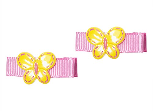 """Price comparison product image Anna Belen Girls """"Tiffany"""" Butterfly Small Grosgrain Hair Clip O/S Yellow (2 Pieces)"""